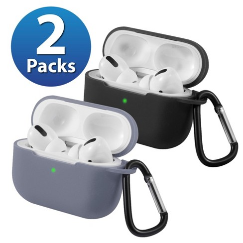 2-Pack For AirPods Pro Case [Black & Lavender Gray] Ultra Thin Silicone Protective Cover with Keychain For Apple AirPods Pro 2019 (3rd Gen) by Insten - image 1 of 1