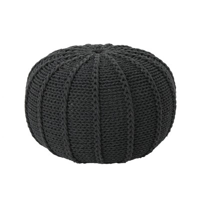 Corisande Knitted Cotton Pouf Dark Gray - Christopher Knight Home