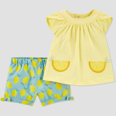 Baby Girls' 2pc Lemon Top & Bottom Set - Just One You® made by carter's Yellow/Green 9M