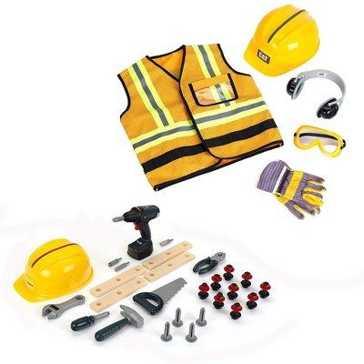 Theo Klein Bosch Kids Childrens DIY Premium Toy Toolset Bundle with Caterpillar Construction Worker Costume Vest Set for Ages 3 and Up