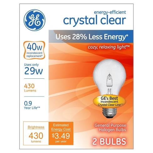 GE 40-Watt Energy Efficient Halogen Light Bulb (2-Pack) - Soft White, Clear Bulb - image 1 of 3
