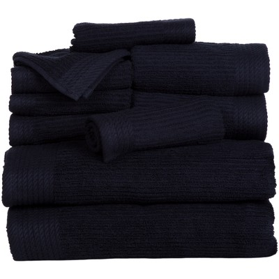Solid Bath Towels And Washcloths 10pc Black - Yorkshire Home