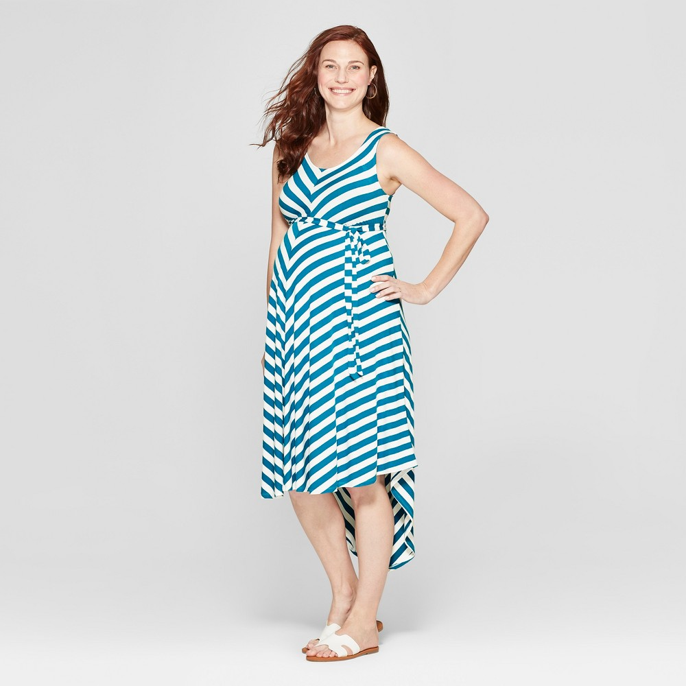 Maternity Striped Sleeveless Dress - Isabel Maternity by Ingrid & Isabel Baltic Teal/White Xxl, Women's