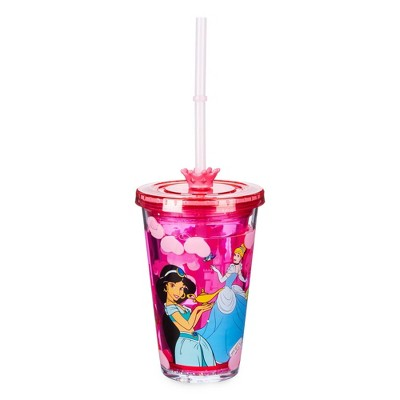 Disney Princess 8.2oz Plastic Tumbler with Straw Pink - Disney Store