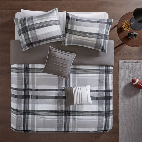 Slate Plaid Comforter Set Black - image 1 of 9