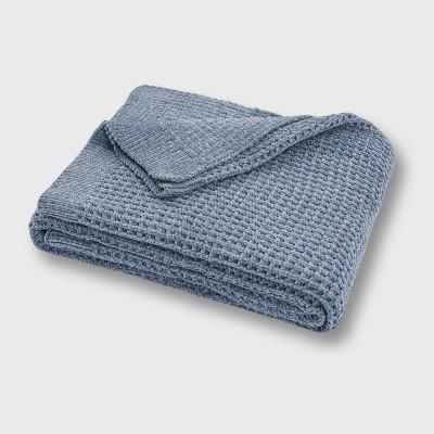 "50""x60"" Shiny Waffle Chenille Knit Throw Blanket Blue - Evergrace"