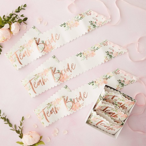 """6pk """"Team Bride"""" Sashes Party Accessories - image 1 of 2"""