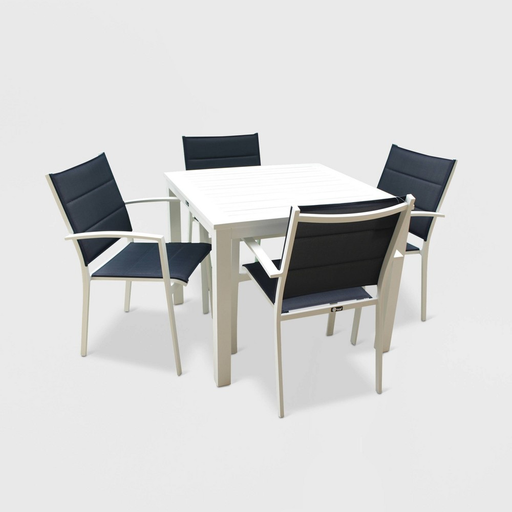 Image of 5pc Skyline Aluminum Outdoor Square Table Dining Set - White/Blue - Courtyard Casual