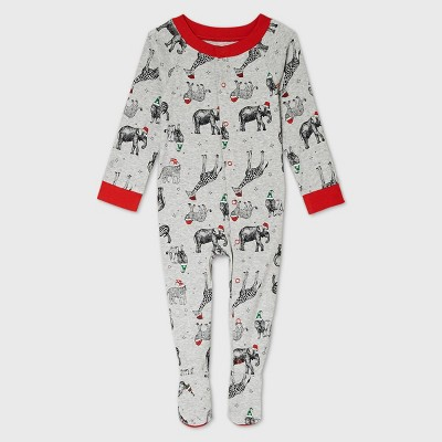 Baby Holiday Safari Animal Print Matching Family Footed Pajama - Wondershop™ Gray 3-6M
