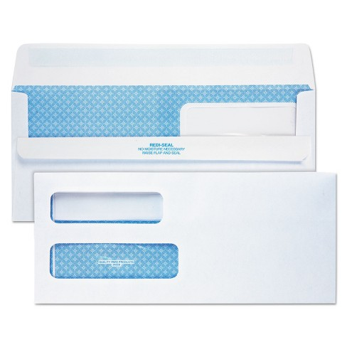 Quality Park Redi Seal Envelope #10 4 1/8 x 9 1/2 Double Window White 500/Box 24559 - image 1 of 1