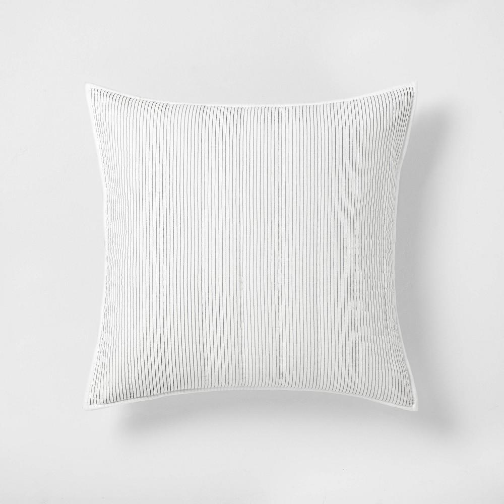 Euro Microstripe Pillow Sham Sour Cream Railroad Gray Hearth 38 Hand 8482 With Magnolia