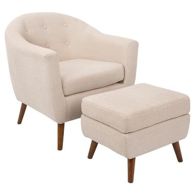 Rockwell Mid-Century Modern Chair w/Ottoman - LumiSource