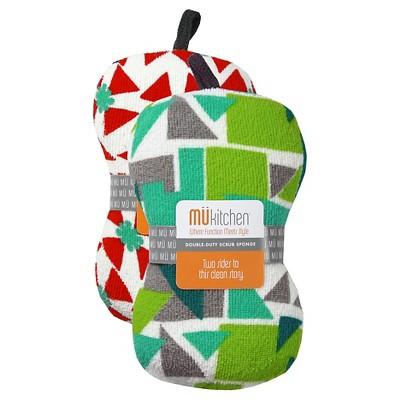 Triangles Scrub Sponge Set Red & Green (3 X6.5 )- Mu Kitchen