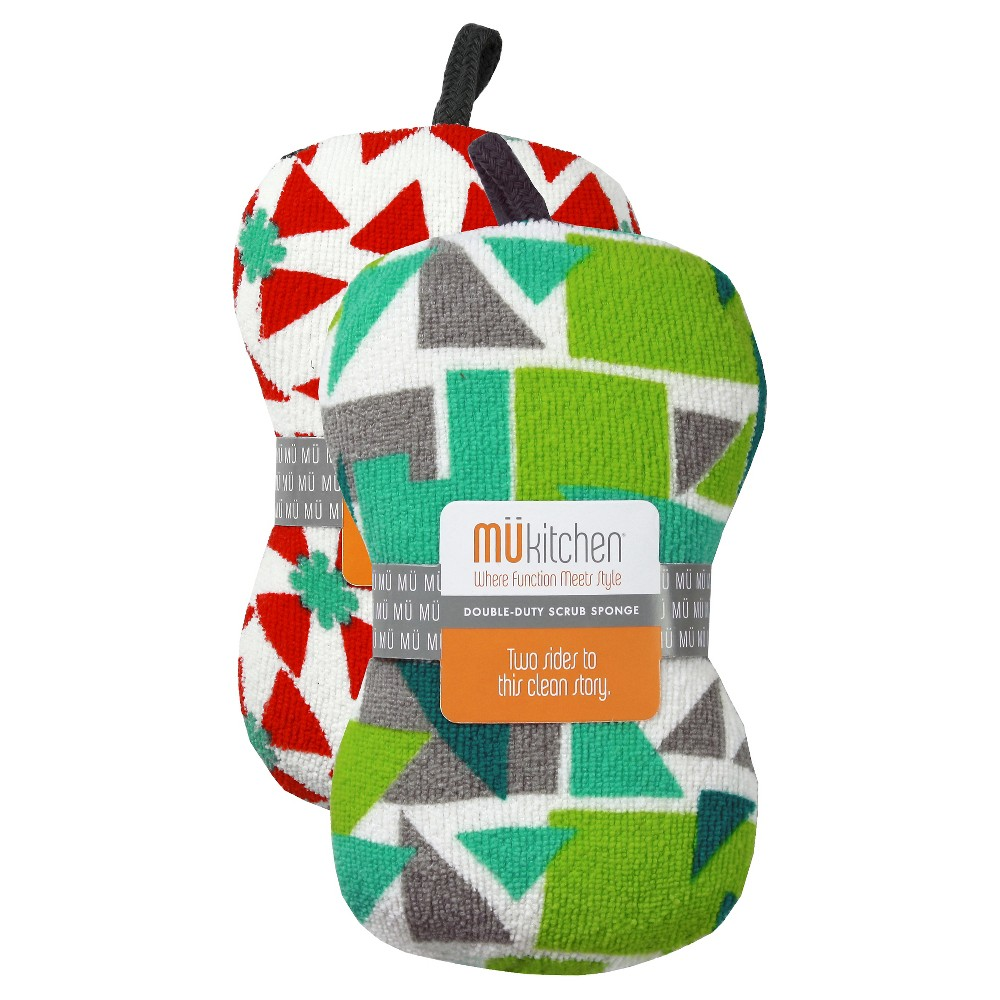Triangles Scrub Sponge Set Red & Green (3X6.5) - Mu Kitchen