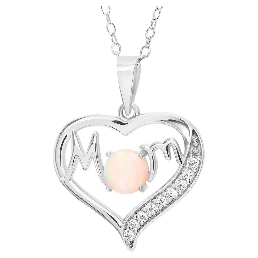 1/3 CT. T.W. Round-cut Opal CZ Prong Set Mom Pendant Necklace in Sterling Silver - Silver (18), Girl's