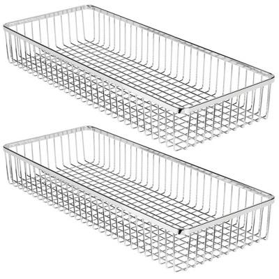 mDesign Metal Office Cabinet Drawer Organizer Tray