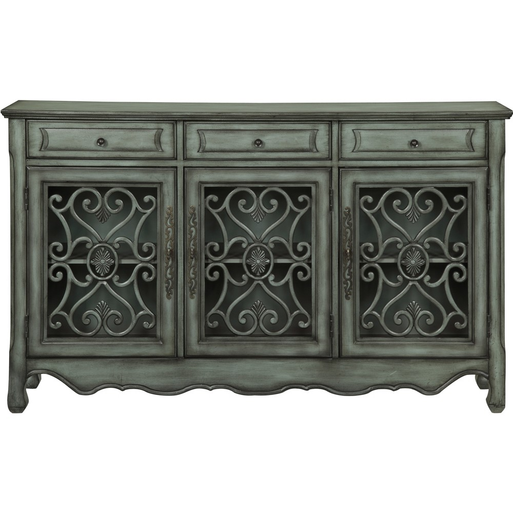 French Country 3 Drawer 3 Door Credenza Green Gray - Treasure Trove