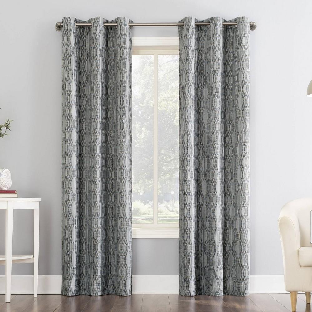 "96""x40"" Houston Tonal Ikat Thermal Extreme 100% Blackout Grommet Curtain Panel Blue - Sun Zero"