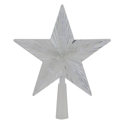 "Northlight 10"" Pre-Lit Clear Crystal Star Christmas Tree Topper - Clear LED Lights"
