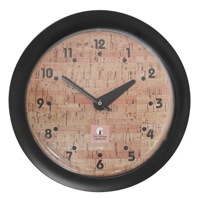 """14"""" x 1.8"""" Cork Traditional Decorative Wall Clock Black Frame - By Chicago Lighthouse"""