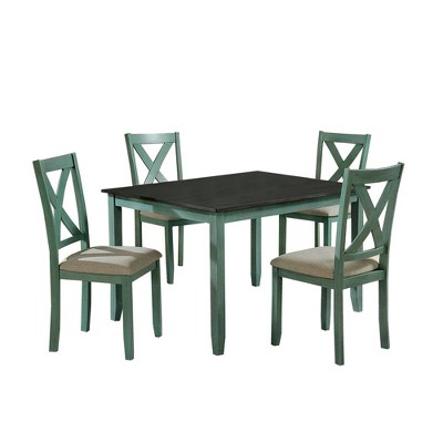 5pc Dining Table Set with Padded Seat and X Back - Benzara