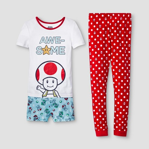 Girls' Super Mario 3pc Pajama Set - White/Red - image 1 of 1