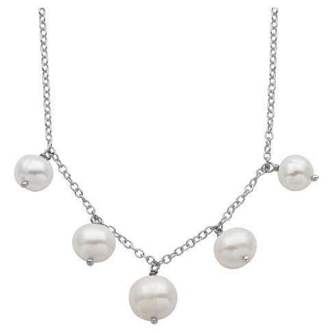 "Sterling Silver White Freshwater Cultured Pearl Necklace - 18"" - image 1 of 1"