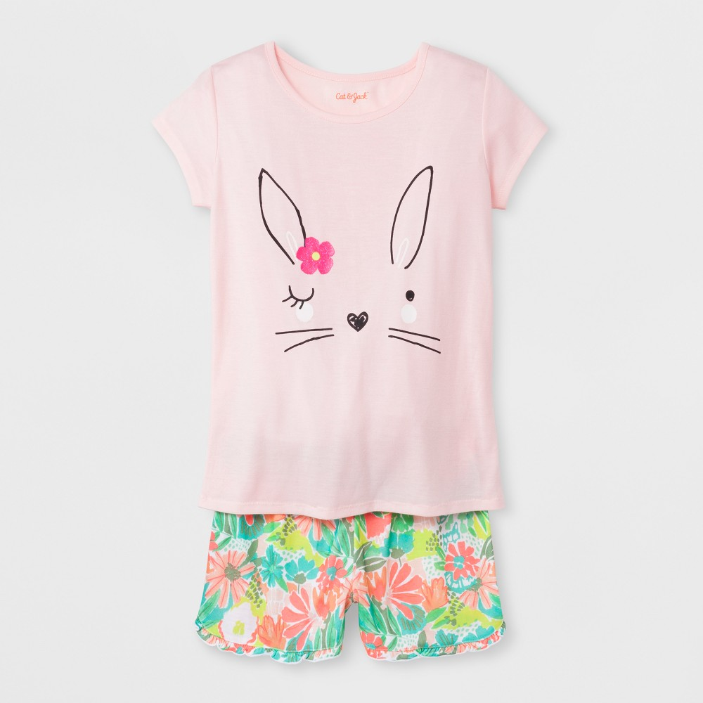 Girls' Short Sleeve 2pc Easter Bunny Pajama Set - Cat & Jack Pink XS