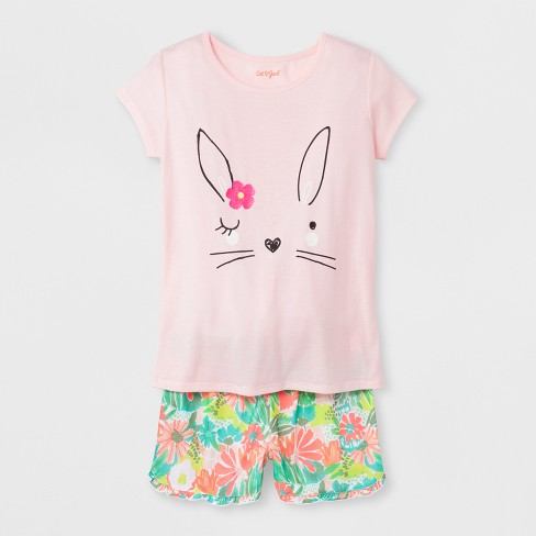ede02cb20 Girls  Short Sleeve 2pc Easter Bunny Pajama Set - Cat   Jack™ Pink ...