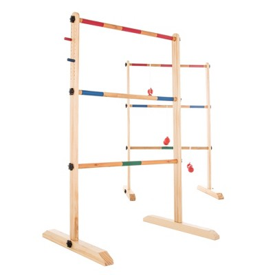Hey! Play! Double Wooden Ladder Golf With 6 Bolas Red/Blue - 11pc