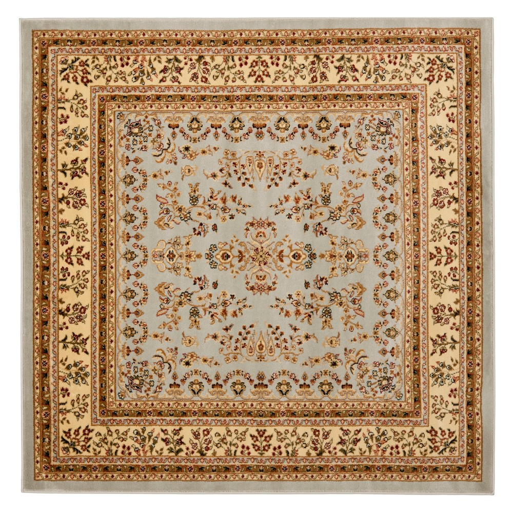 6'X6' Floral Loomed Square Area Rug Gray/Beige - Safavieh