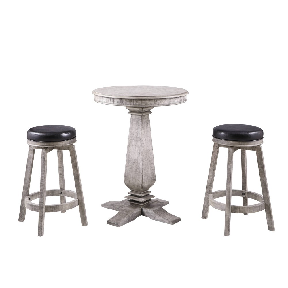 Hathaway Montecito 3pc Pub Table Set with Bar Stools - Driftwood, Wood