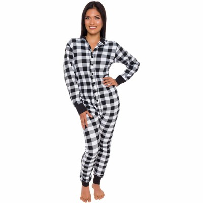 Silver Lilly Slim Fit Women's Buffalo Plaid One Piece Pajama Union Suit with Butt Flap