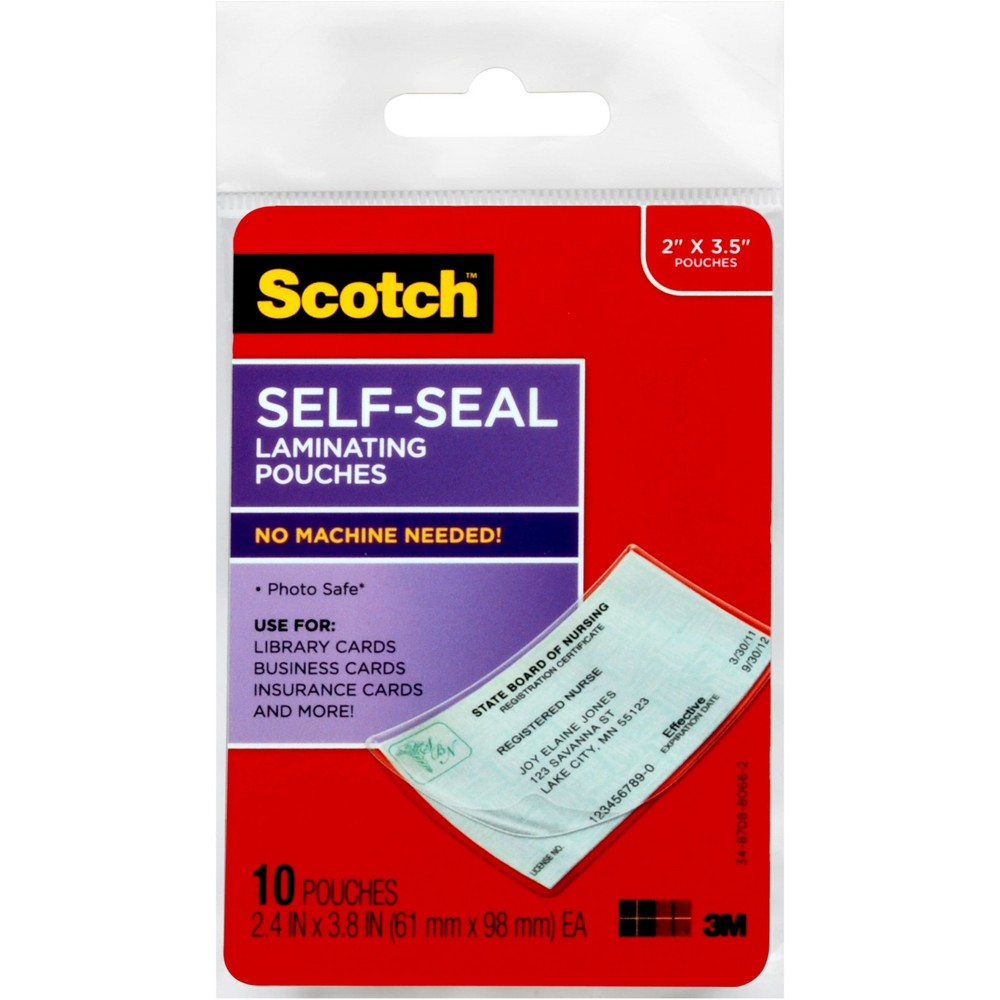 "Image of ""10ct Laminating Pouches Self-Seal 2"""" x 3.5"""" - Scotch, Clear"""
