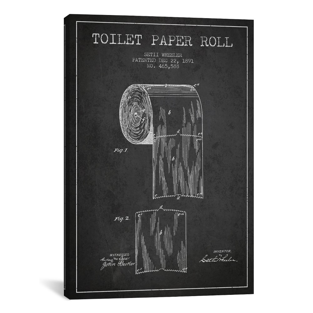 "Image of ""18""""x12"""" Toilet Paper Patent Blueprint by Aged Pixel Unframed Wall Canvas Print Heather Charcoal (Grey) - iCanvas"""