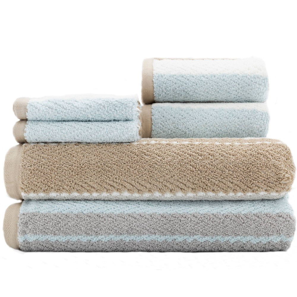 Image of 6pc Addison Bath Towel Set Linen Brown/Blue - Caro Home