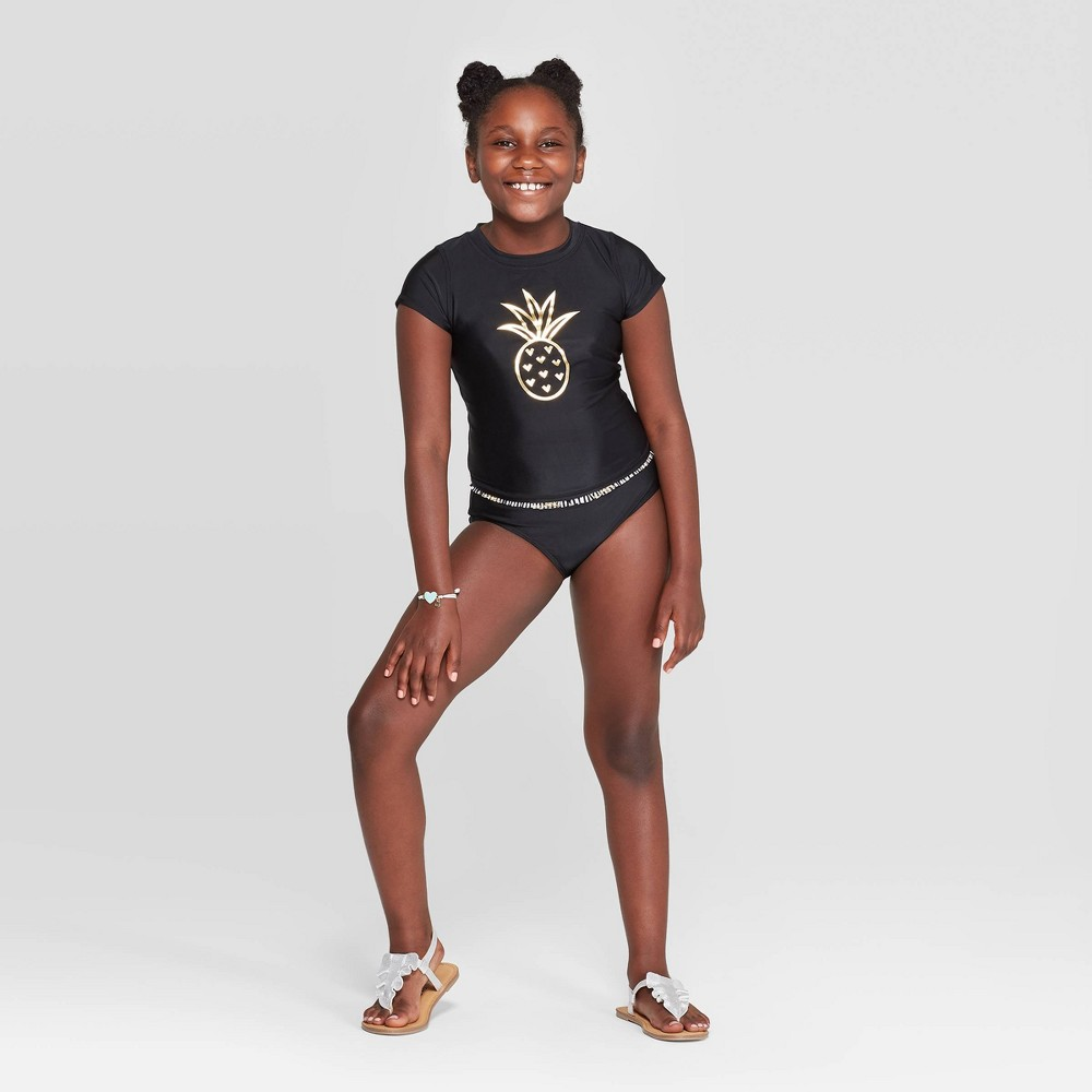Girl 39 Gold Foil Pineapple Bikini wimuit and Rahguard wim hirt et Cat 38 Jack 8482 Black