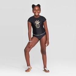 Girls' Pineapple Shine 3pc Bikini and Rash Guard Set - Cat & Jack™ Black