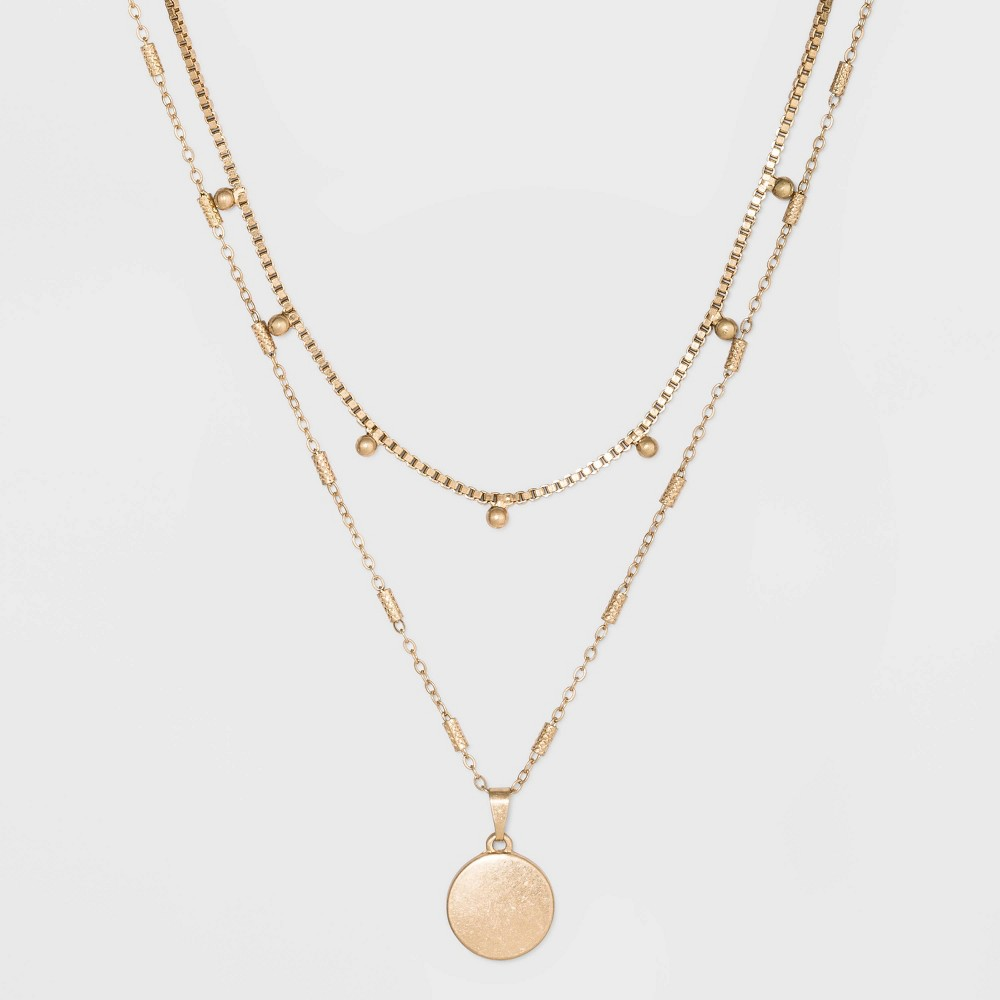 Image of Ball & Medallion in Worn Gold Layer Necklace - Universal Thread Gold, Women's