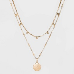 Ball & Medallion in Worn Gold Layer Necklace - Universal Thread™ Gold
