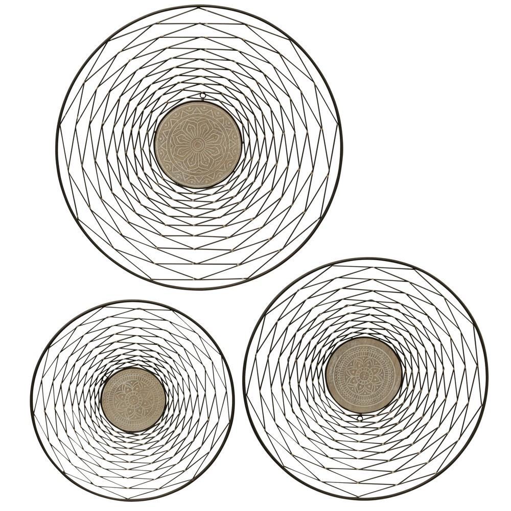 26 3pc Round Metal Wood Decorative Wall Art Black - StyleCraft