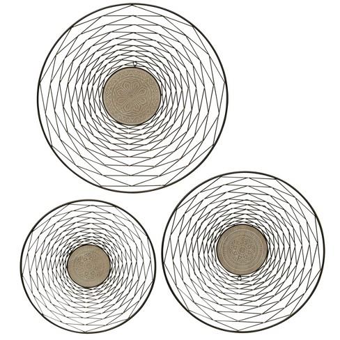 "26"" 3pc Round Metal Wood Decorative Wall Art Black - StyleCraft - image 1 of 1"