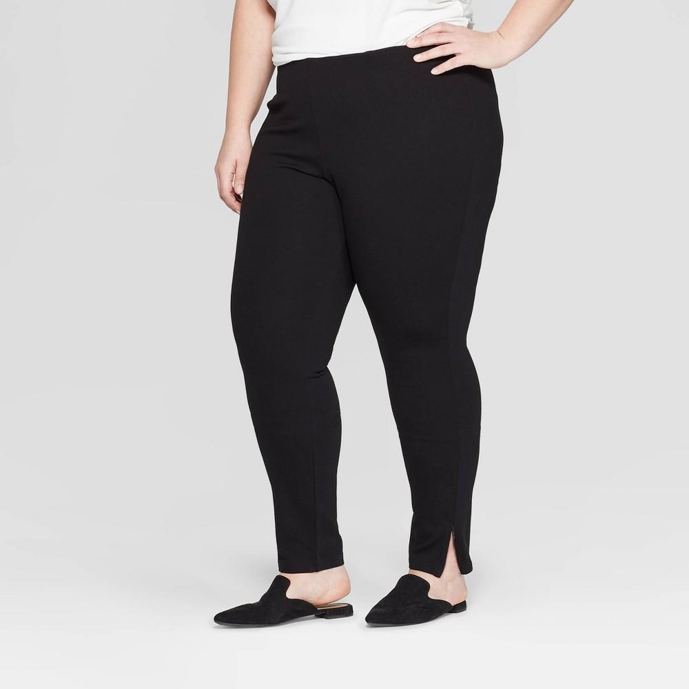 Women's Plus Size Mid-Rise Ankle Length Leggings with Zipper - Prologue Black X