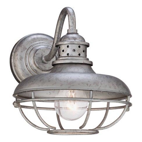 "Franklin Iron Works Farmhouse Outdoor Barn Light Fixture Galvanized Steel Open Cage 9"" for Exterior House Porch Patio Deck - image 1 of 4"