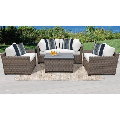 Monterey 5pc Outdoor Wicker Sectional Sofa Seating Group with Cushions - TK Classics