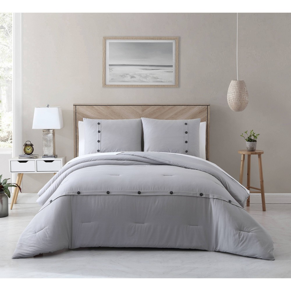 King 3pc Cotton Lyocell Buttons Comforter Set Gray Avery Homegrown
