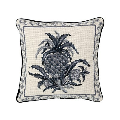 """C&F Home Colonial Williamsburg 14"""" x 14"""" Black Pineapple Needlepoint Pillow"""