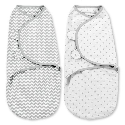 SwaddleMe Original Swaddle 0-3 Months - 2pk Gray Chevron/Stars S