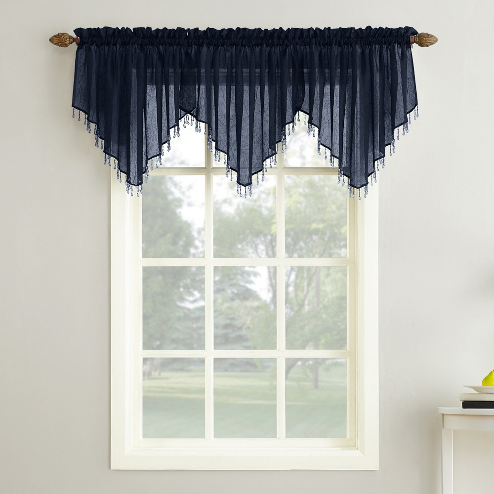 Erica Crushed Sheer Voile Beaded Ascot Curtain Valance Navy (Blue) 51