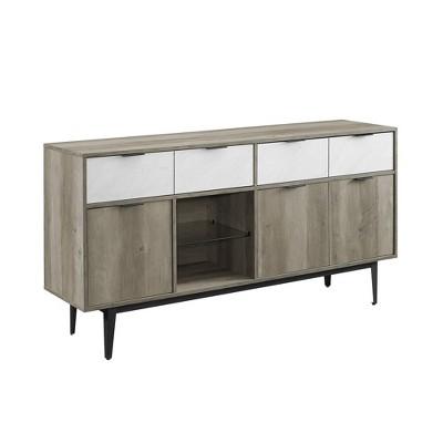 "60"" Asymmetrical 2 Drawer Sideboard Faux White Marble - Saracina Home"